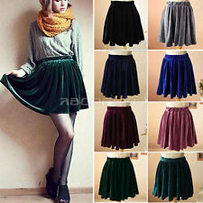 New Vintage High Waist Soft Velvet Skater Stretch Pleated Elastic Skirt