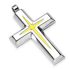 Stainless Steel Gold Star Centered Cross Pendant w/ Necklace