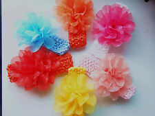 6Pcs Baby Girl Headband Hairband Hairbow Bibs Hair Flower Clip Headwear