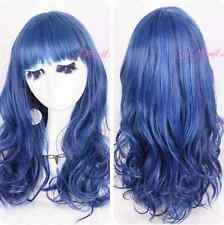 Women Harajuku wind/cosplay lolita mixed blue curly Gradient hair wig ZY32+A CAP