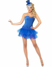Ladies Sexy Fever Burlesque Blue Show Girl Outfit Fancy Dress Costume