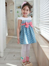 1pc Baby Girl Kids Toddler Polka Dot Dress Skirt Bowknot Outfit Clothes Blue