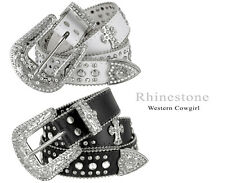 Western Rhinestone Cowgirl Studded Crystal Black Leather Cross Concho Belt
