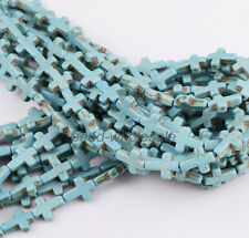 New Howlite Turquoise Side Ways Crosses Spacer Beads 12mm x 16mm A Strand