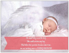 20 30 50 Custom ANGEL BABY Girl  SHOWER  Personalized Invitations