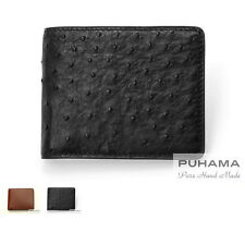 PUHAMA PA12 Hand-Stitched Handmade Personalized Ostrich Leather Wallet Purse