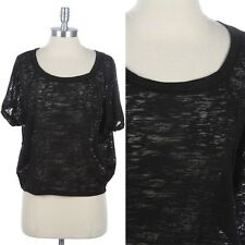 Round Neck Burnout Short Sleeve Top T Shirt Relaxed Fit Comfortable Easy Wear