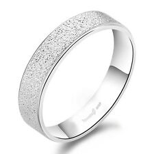 1 PCS Solid Sterling Silver Frosted Band Ring Comfort Fit Size 4-10 #002