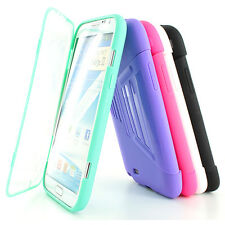 For Samsung Galaxy Note II 2 TPU Wrap Up Case Cover w/ Built in Screen Protector