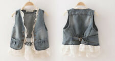 New Kids Clothing Lovely Girls Jean Style Lace Borders Vest Jackets/Tops Sz5-11Y