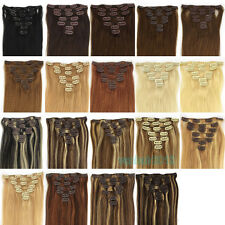 "15""18""20""22""24""26""28""Clip In Remy Real Human Hair Extensions Straight Any Color"