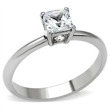 Stainless Steel Princess Cut 1 Carat Diamond Engagement Ring Size 5, 6, 7, 8, 9