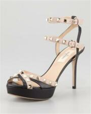 Valentino Rockstud Studded Double Ankle Strap Two Tone Sandals Heels Shoes $995