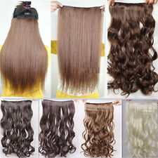 17''/23'' 3/4 full head clip in hair extension 5 clips for woman silky hairpiece