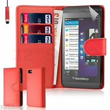 PU Leather Wallet CASE COVER For BlackBerry Z10 BB 10 + SCREEN PROTECTOR +STYLUS