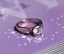 18K GP Rose Gold Plated Crystal married Ring Size :6 7 8 9