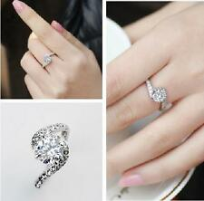 18K GP Whit Gold use Swarovski Crystal Engagement Married Red Ring Size :6 7 8 9