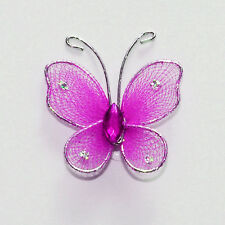 Organza Butterflies Wire Glitter Center Accented Jewels Rhinestone Decorations