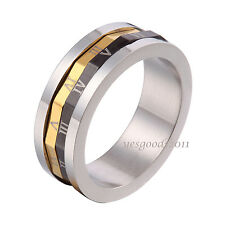 8MM Gold Black Stainless Steel Roman Numerals Whirling Ring Size 9-14 SR109
