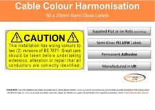 Electrical Safety - Cable Colour Harmonisation Wiring Labels 50x25mm