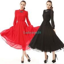 Retro Elegant Summer Long Sleeve Chiffon Evening Party Ball Gown Maxi Long Dress