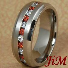 8MM Titanium Ring Mens or Womens Wedding Band White & Red Diamonds Size 6-13