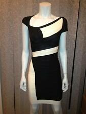 HERVE LEGER Amber Two Tone Colorblock Bandage Stretch Dress Black Cream $1450