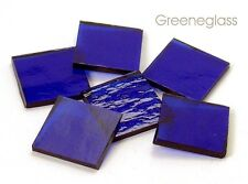 Cobalt Blue Cathedral Rough Roll Mosaic Glass Tile Cut to Order Shapes Med Pack