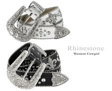 Western Cowgirl Fleur-De-Lis Studded Rhinestone Leather Belt, Black White