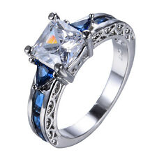 Fashion White/Blue Sapphire Sapphire 10KT Women's Gold Filled Ring SZ 6/7/8/9/10