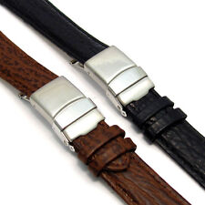 Genuine Leather Watch Strap Band Shark Grain Deployment Choice of Colours