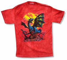 "THE MOUNTAIN ""BLUE DRAGON"" RED TIE DYE T-SHIRT NEW OFFICIAL KIDS YOUTH ANIMAL"