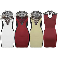 New Womens Lace Sequins Sleeveless Slimming Effect Ladies Bodycon Top Mini Dress
