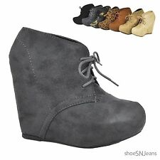 Women Ankle Booties Lace Up Wedge High Heel Platform Pumps Cute Boots Shoes Soda