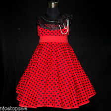 R3122 Girl Kids Reds Christmas Party Girls Dress Outfit SIZE 2,3,4,5,6,7,8,9,10T
