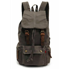 New Men's Vintage Canvas Leather Hiking Travel Military Backpack Messenger Bag