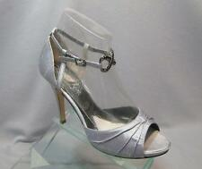 Jen & Kim Coloriffics Devote Silver Silk Ankle High Heel Bridal Wedding Shoes