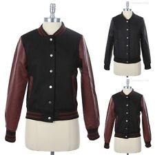 Wool Varsity Jacket with Contrast Long PU Faux Leather Sleeve Button Down S M L