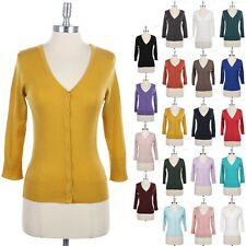 Women's V Neck 3/4 Sleeve Button Down KNIT Cardigan WARM High Quality S M L