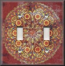 Light Switch Plate Cover - Boho Medallion - Red - Persian Home Decor