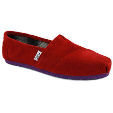Toms Clas Pop Womens Slip On Trainers New Shoes Corduroy Red Navy Size 3 4 5 UK