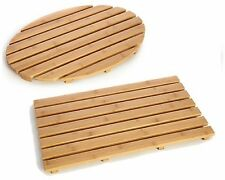 BAMBOO WOOD DUCK BOARD NATURAL WOODEN SLATTED RECTANGULAR OVAL BATH SHOWER MAT