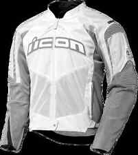 Mens Icon Contra white textile armored motorcycle riding street jacket