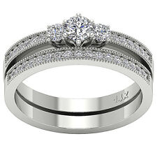 I1/G Excellent 0.95 Ct Round Diamond White Gold Bridal Ring Set Anniversary Band
