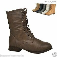 Women Riding Boots Ankle Lace Up Military Combat Army Booties Shoes Zipper Heel