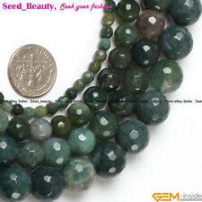 """Jewelry Making round faceted moss agate gemstone Loose beads strand 15"""""""