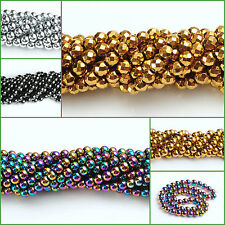 Hematite Gemstone Round Ball Beads 16'' Coated Metallic Color 3mm 4mm 6mm 8mm