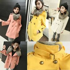 Womens Rabbit Hair Double-Breasted Coat Outwear Jacket Poncho Cape