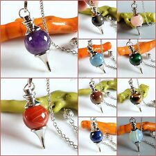 "40mm Gemstone crystal healing point Metaphysical Chakra Reiki pendulum 6"" Chain"