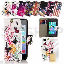 NEW PU LEATHER WALLET CASE COVER FOR IPHONE 5 5S WITH FREE SCREEN PROTECTOR